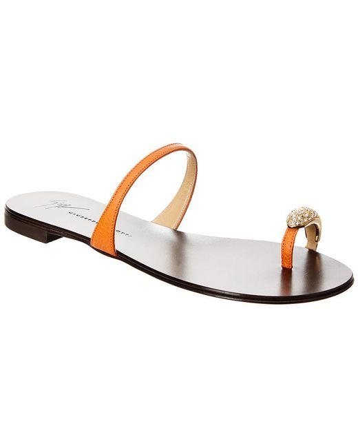 Giuseppe Zanotti - Orange Nuvo Rock Jeweled Toe Ring Leather Sandal - Lyst