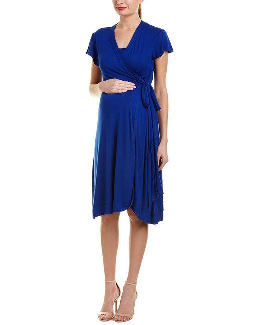 Everly Grey - Blue Maternity Kathy Wrap Dress - Lyst