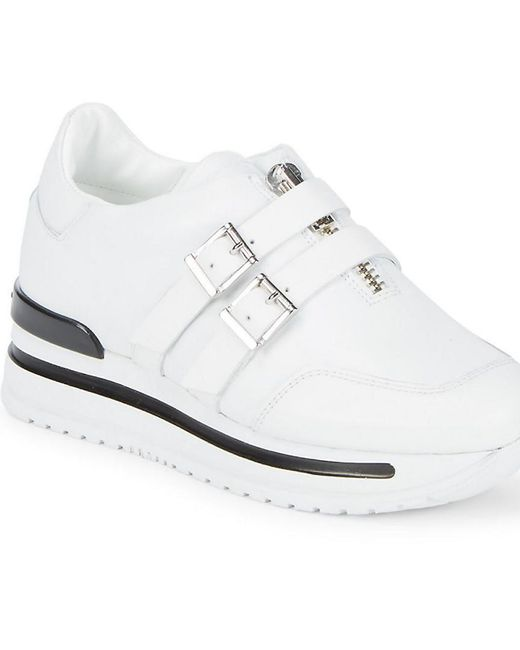 John Galliano - White Double Buckle Leather Sneakers - Lyst