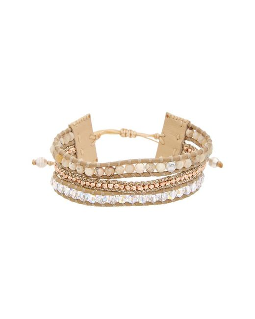 Chan Luu - Metallic Rose Gold Over Silver & Silver Agate & Crystal Leather Adjustable Bracelet - Lyst