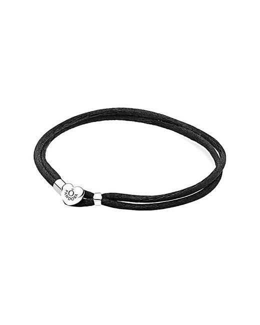 Pandora - Metallic Silver Black Fabric Cord Bracelet - Lyst