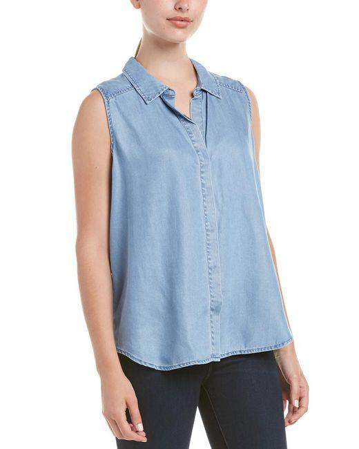 NYDJ - Blue Denim High-low Sleeveless Shirt - Lyst