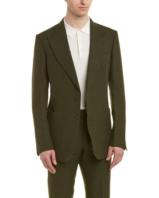 Tom Ford Green Shelton 2pc Linen Suit With Flat Pant for men