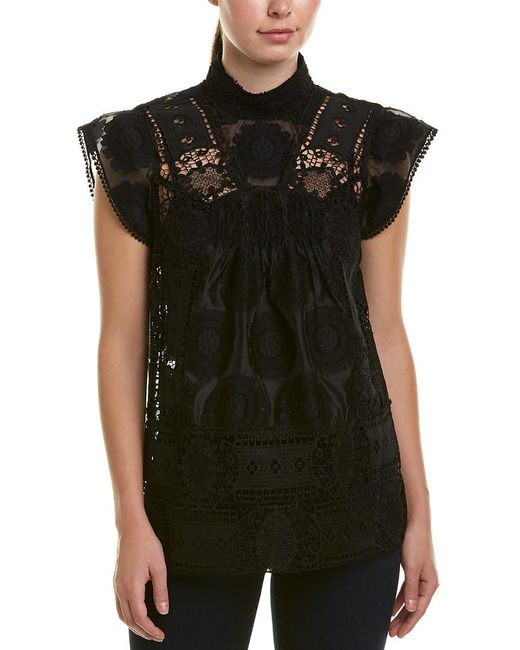 Anna Sui - Black Daisy Songs Clipped Floral Jacquard Top - Lyst