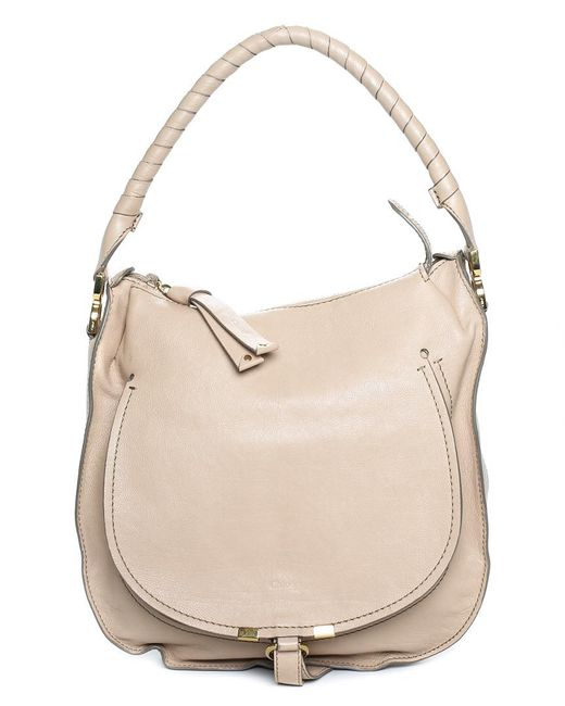 589e5784d Chloé - Natural Cream Leather Large Marcie Hobo Bag - Lyst ...