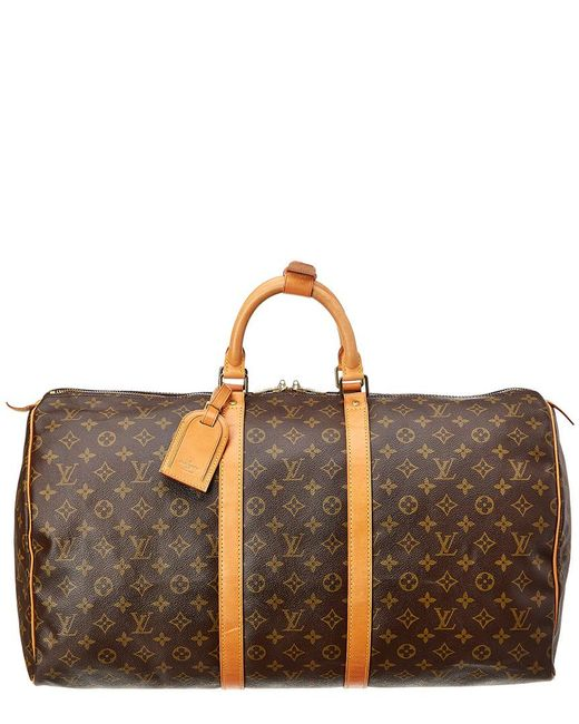 7d3687df74cd Lyst - Louis Vuitton Monogram Canvas Keepall 55 in Brown - Save 1%
