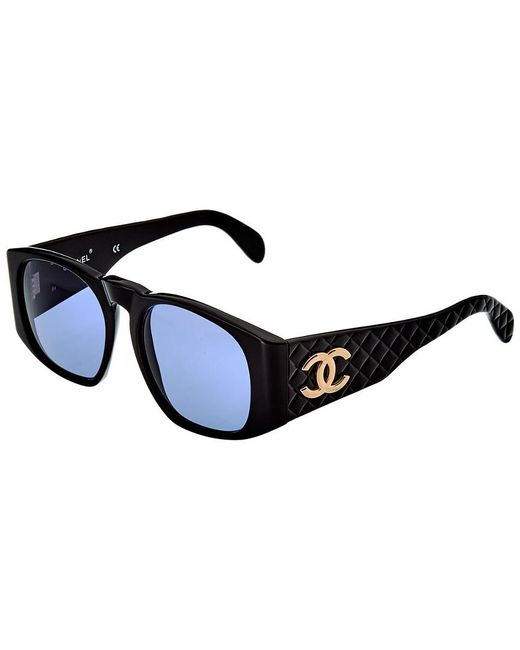 Lyst Chanel Black 60mm Quilted Sunglasses In Black