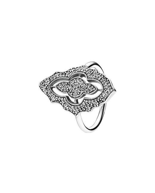 Pandora - Metallic Silver Cz Sparkling Lace Ring - Lyst