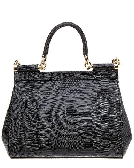 ... Dolce   Gabbana - Black Sicily Iguana Print Logo Leather Satchel - Lyst 8566e3bbfb3