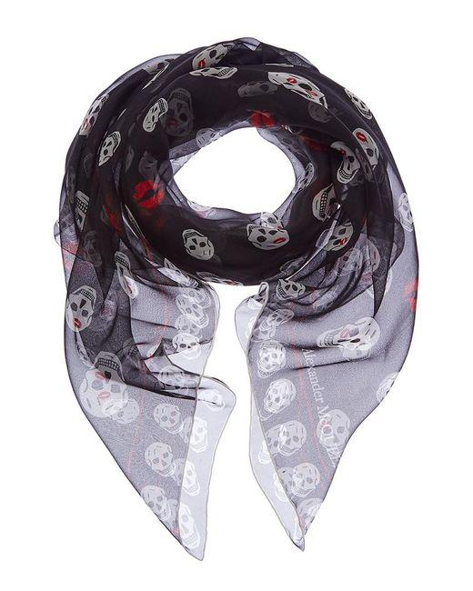 f6e9c37f87d91 Alexander McQueen - Black Fo Skull Kisses Silk-chiffon Scarf - Lyst ...