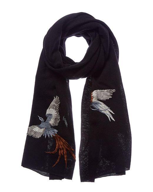La Fiorentina - Black Embroidered Scarf - Lyst