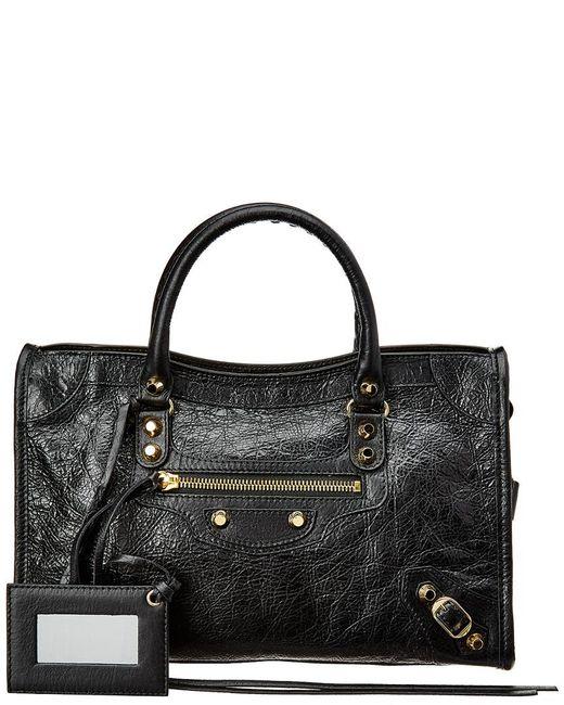 Balenciaga - Black Classic Gold City Small Leather Shoulder Bag - Lyst