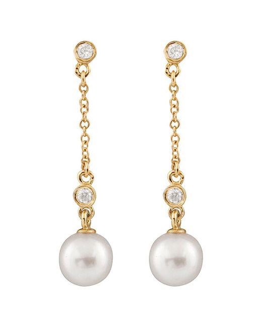 Splendid - Metallic 14k Diamond & 7-7.5mm Akoya Pearl Dangling Earrings - Lyst