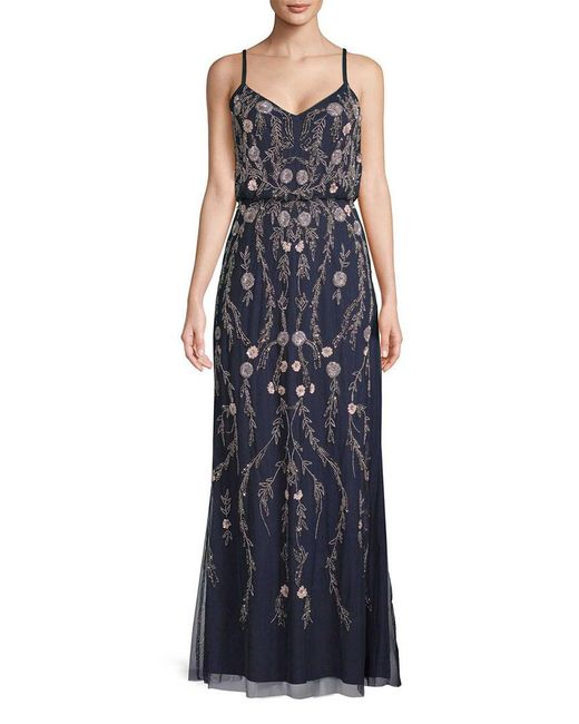Adrianna Papell - Blue Floral Beaded Blouson Gown - Lyst