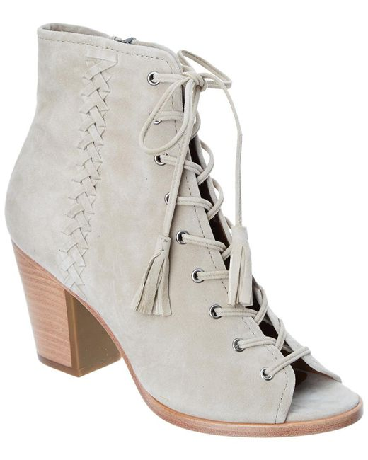 Frye - Natural Dani Whipstitch Lace Suede Bootie - Lyst