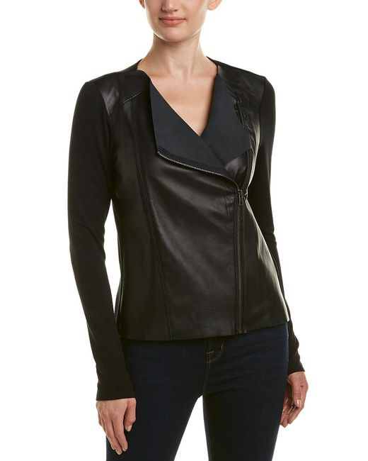 Michael Stars - Black Leather Moto Jacket - Lyst