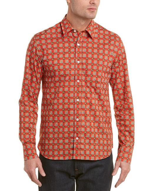 Burberry - Red Tiled Archive Print Shirt for Men - Lyst