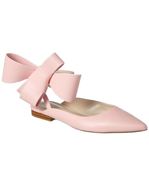 Delpozo - Pink Bow Leather Ballerina Flat - Lyst