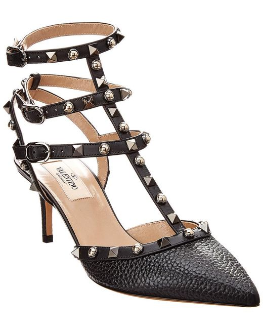 63174e91390 Lyst - Valentino Rockstud Cage 65 Leather Ankle Strap Pump in Black ...