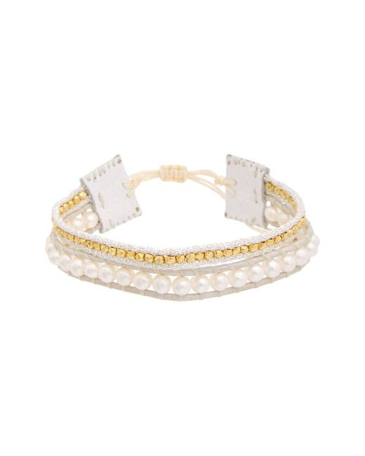 Chan Luu - Metallic 18k Over Silver 4mm Pearl Leather Adjustable Bracelet - Lyst