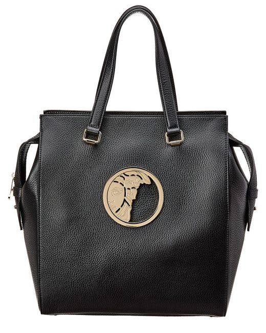 5d6b3fadaba2 Lyst - Versace Pebbled Leather Tote Bag Black in Black - Save 41%