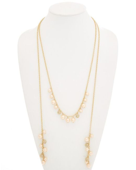 Carolee - Metallic Peach Blossom 12k Plated Lariat 60in Necklace - Lyst
