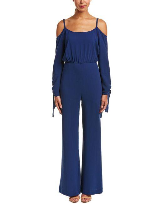 BCBGMAXAZRIA - Blue Off-the-shoulder Jumpsuit - Lyst