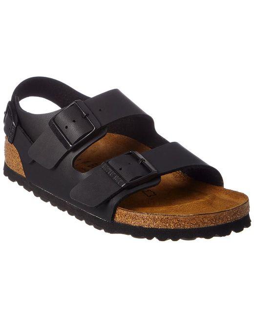 48b23b03d8b7 Lyst - Birkenstock Milano Birko-flor Leather Narrow Sandal in Black ...