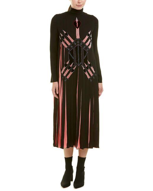 Valentino - Black Garavani Pleated Silk Midi Dress - Lyst