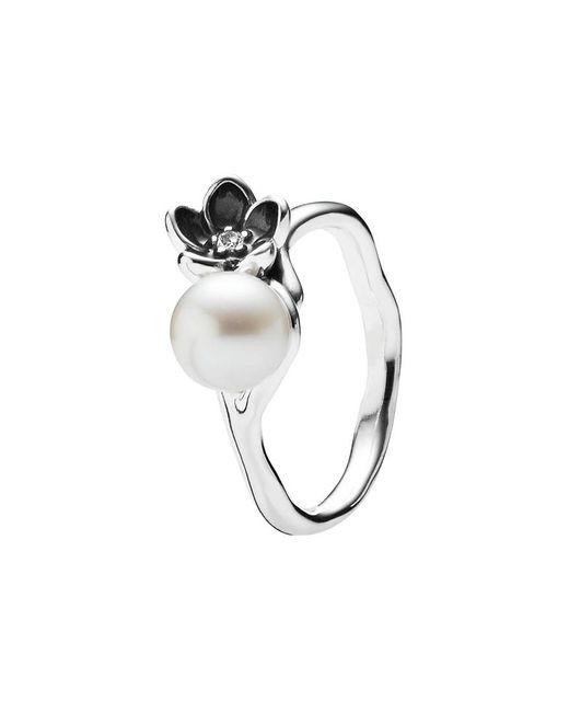 Pandora - Metallic Mystic Floral Silver Pearl & Cz Ring - Lyst