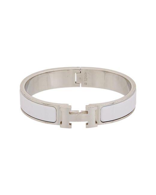 Hermès - Metallic White Enamel Narrow Clic-clac H Bracelet - Lyst