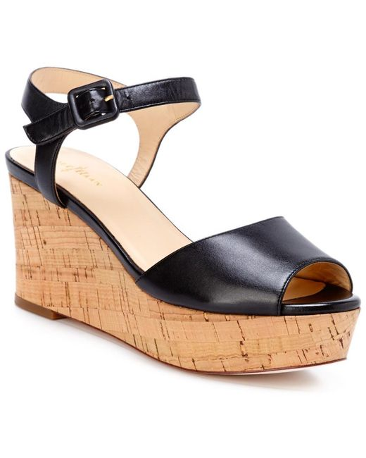 Cole Haan - Natural Gillian Leather Wedge Sandal - Lyst