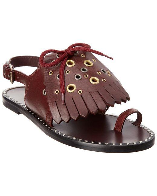 cca1495cfba8 Burberry - Brown Kiltie Fringe Leather Sandal - Lyst ...