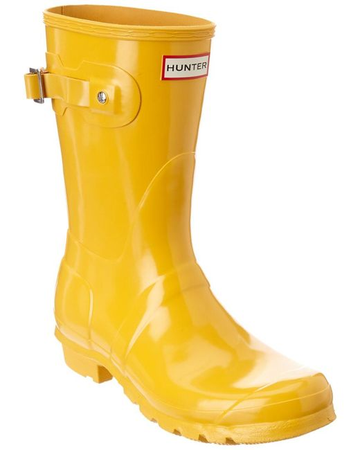 Hunter - Yellow Original Short Gloss Boot - Lyst