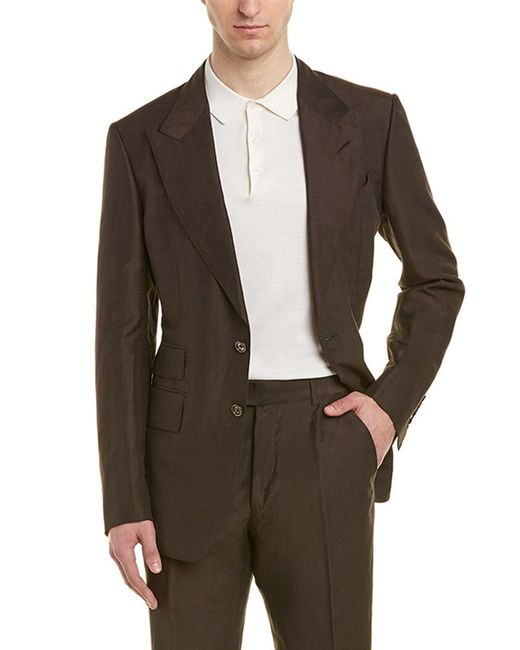 Tom Ford Brown Shelton 2pc Linen & Silk-blend Suit With Flat Pant for men