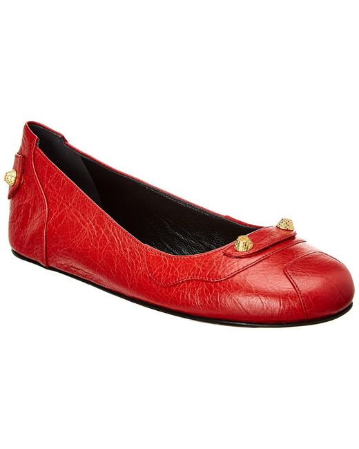 Balenciaga - Red Studded Leather Ballet Flat - Lyst