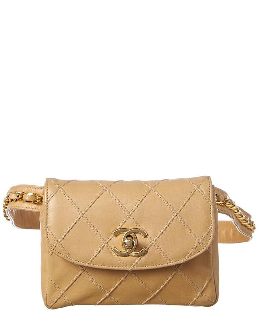 30d4c4fc0675ef Chanel - Natural Beige Quilted Lambskin Leather Chain Belt Bag - Lyst ...