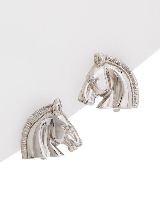 Hermès - Metallic Silver-tone Horsehead Earrings - Lyst