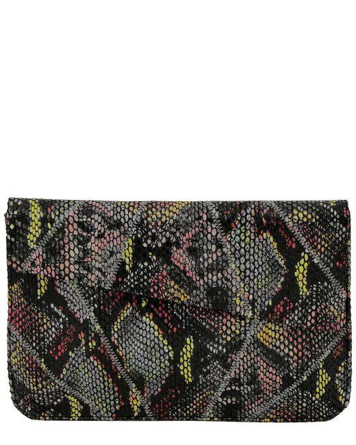 Inge Christopher - Black Charlene Asymmetrical Leather Envelope Clutch - Lyst