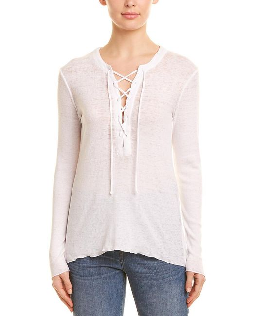Chaser - White Lace-up Rib Top - Lyst
