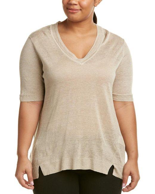 Marina Rinaldi - Natural Marina Sport By Plus Adottare Linen-blend Sweater - Lyst