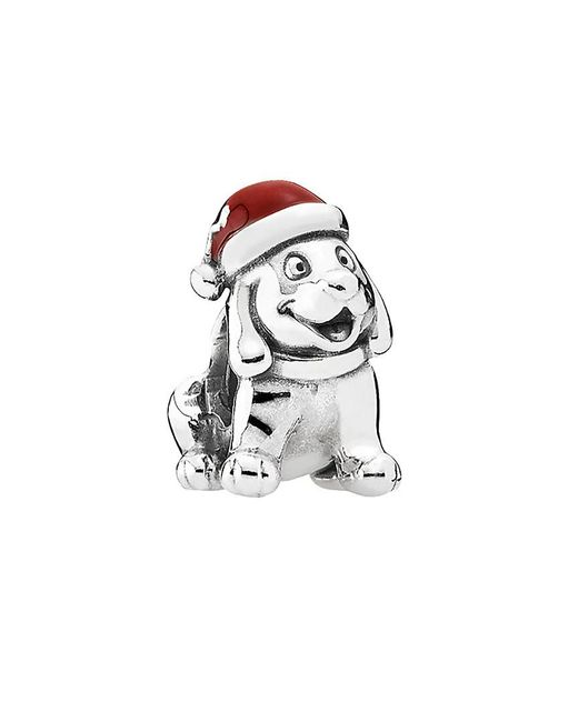 Pandora - Multicolor Christmas Puppy Silver Enamel Charm - Lyst