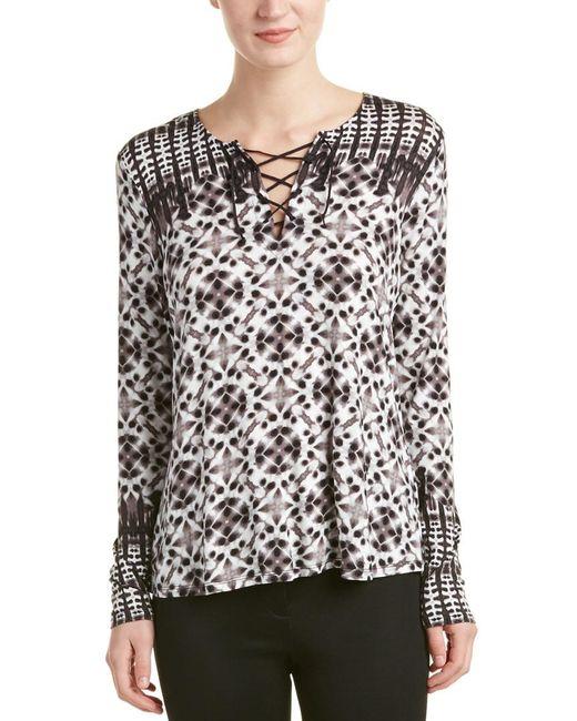 NYDJ - Gray Batik Print Long Sleeve Top - Lyst