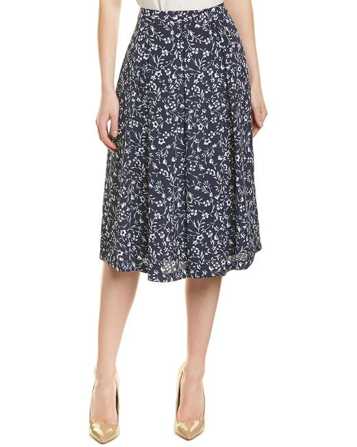 4087f5bff Tahari Floral-print Fit-and-flare Midi Skirt in Blue - Save 51% - Lyst