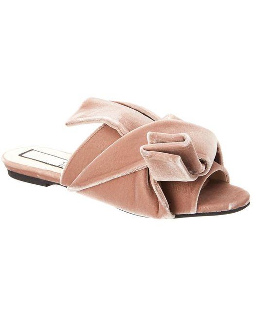 N°21 - Pink N?21 Velvet Bow Flat Mule - Lyst