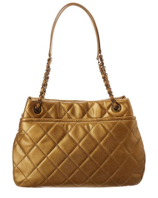 b8bf41d74cfa84 ... Chanel - Metallic Gold Quilted Caviar Leather Timeless Cc Pocket Tote -  Lyst