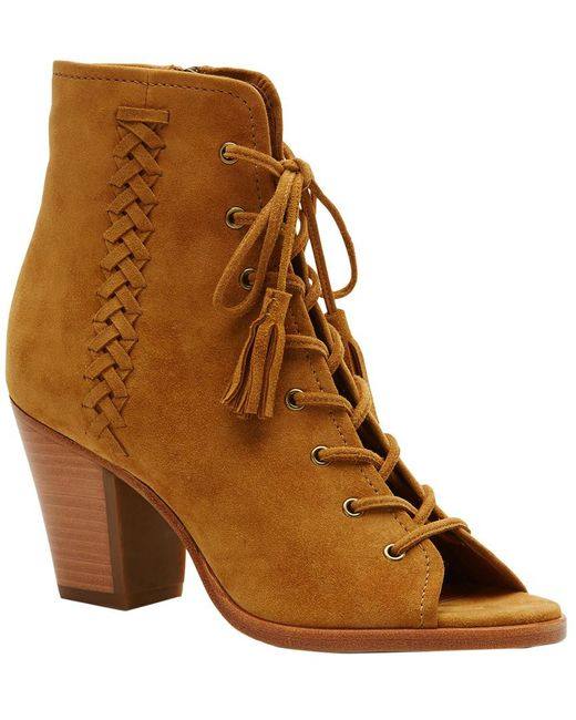 Frye - Brown Dani Whipstitch Lace Suede Bootie - Lyst