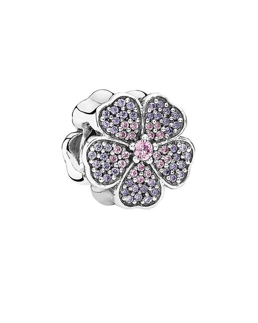 Pandora - Multicolor Sparkling Primrose Pink And Purple Silver Charm - Lyst