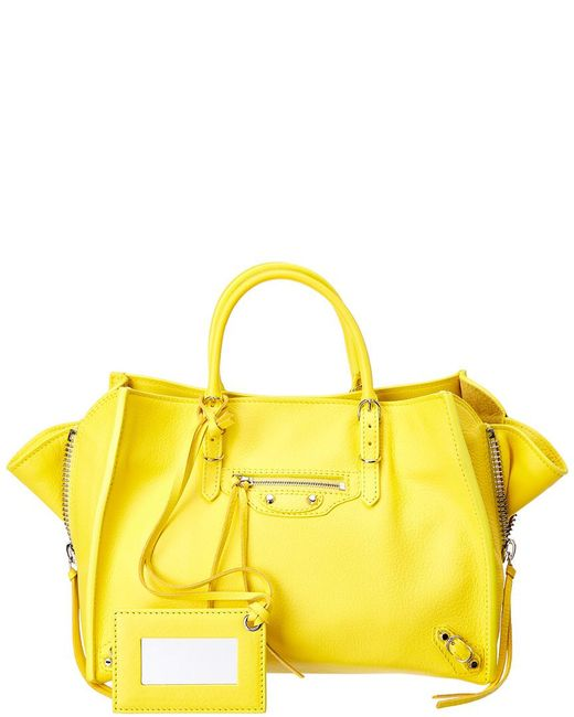 Balenciaga - Yellow Papier A6 Zip Around Leather Tote - Lyst