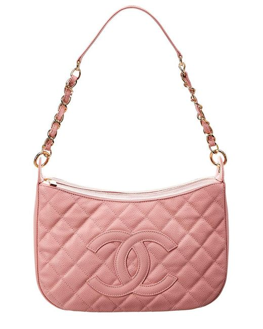 b5f40e5c884b Chanel - Pink Quilted Caviar Leather Timeless Cc Shoulder Bag - Lyst ...